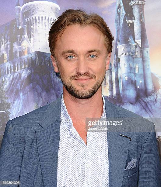 Actor Tom Felton attends the opening of 'The Wizarding World of Harry Potter' at Universal Studios Hollywood on April 5 2016 in Universal City...