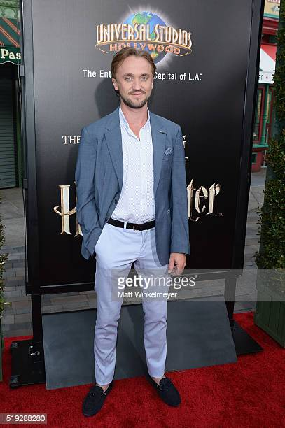 Actor Tom Felton attends Universal Studios' 'Wizarding World of Harry Potter Opening' at Universal Studios Hollywood on April 5 2016 in Universal...