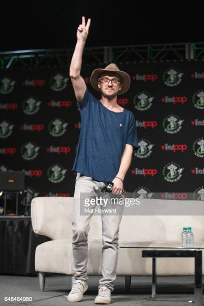 Actor Tom Felton speaks on stage during Emerald City Comic Con at the Washington State Convention Center on March 5 2017 in Seattle Washington