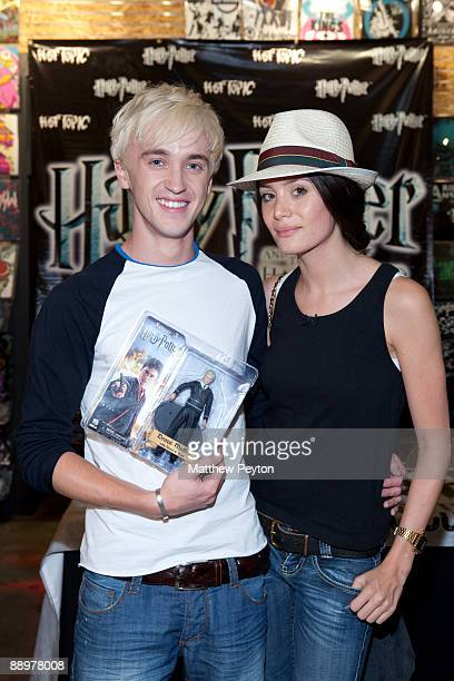 Actor Tom Felton who plays Draco Malfoy in 'Harry Potter The Half Blood Prince' and friend Jade Gorden attend a special signing and QA session at Hot...
