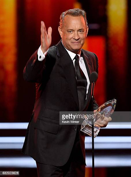 Actor Tom Hanks accepts Favorite Dramatic Movie Actor onstage during the People's Choice Awards 2017 at Microsoft Theater on January 18 2017 in Los...