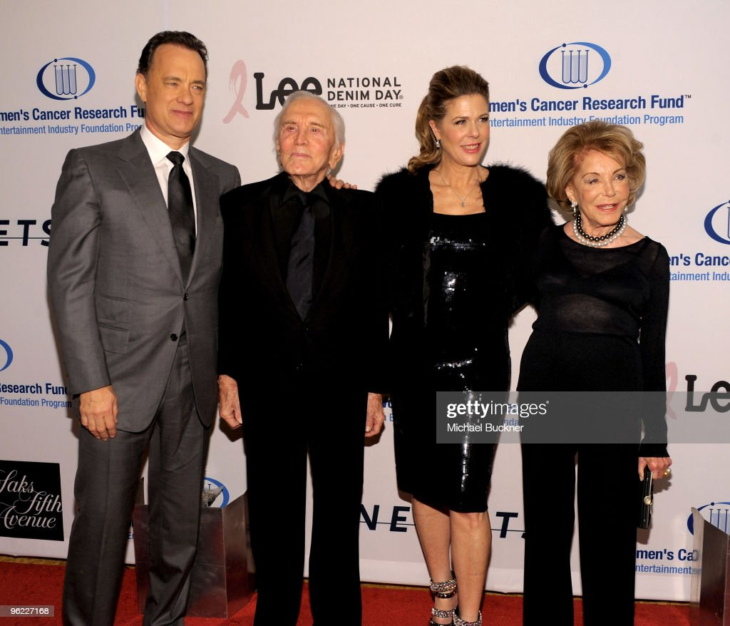 Actor Tom Hanks, actor Kirk Douglas, actress Rita Wilson and Anne Buydens arrive at An Unforgettable Evening Benefiting EIF's Women's Cancer Research Fund at Beverly Wilshire Four Seasons Hotel on January 27, 2010 in Beverly Hills, California.