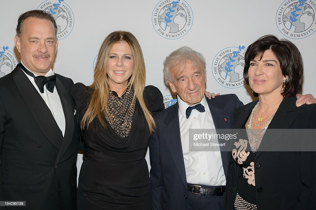 Actor Tom Hanks, actress Rita Wilson, writer Elie Wiesel and CNN Chief International Correspondent Christiane Amanpour attend the 2012 Arts For Humanity Gala at New York Public Library on October 17, 2012 in New York City.