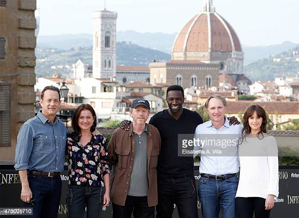 Actor Tom Hanks actress Sidse Babett Knudsen director Ron Howard actor Omar Sy writer Dan Brown and actress Felicity Jones attend 'Inferno' photocall...
