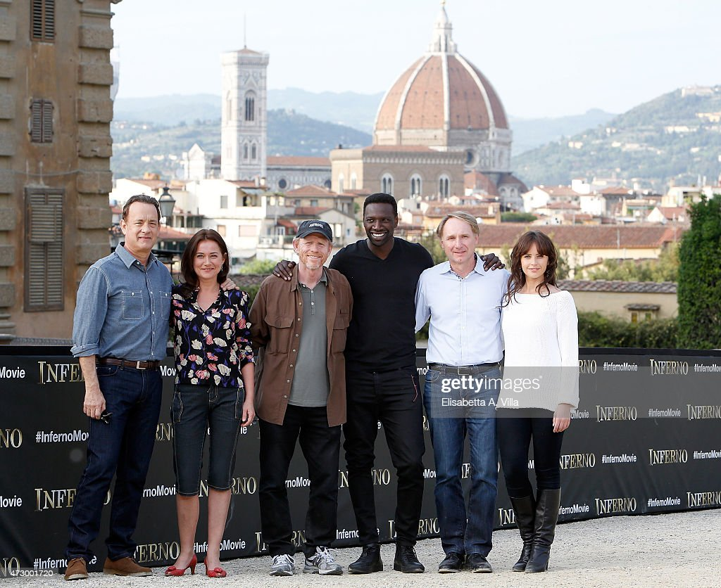 Actor Tom Hanks actress Sidse Babett Knudsen director Ron Howard actor Omar Sy writer Dan Brown and actress Felicity Jones attend 'Inferno' photocall...