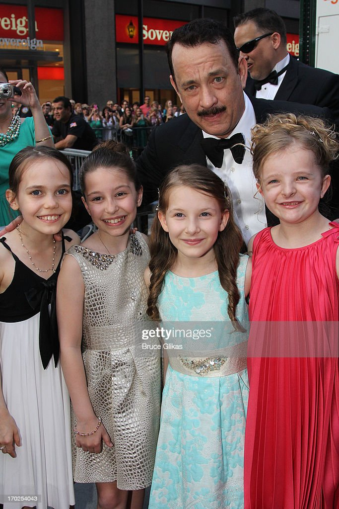 Actor <a gi-track='captionPersonalityLinkClicked' href=/galleries/search?phrase=Tom+Hanks&family=editorial&specificpeople=201790 ng-click='$event.stopPropagation()'>Tom Hanks</a> and (L-R) Actors Oona Laurence, Bailey Ryon, Sophia Gennusa and Milly Shapiro of 'Matilda the Musical' attend the 67th Annual Tony Awards at Radio City Music Hall on June 9, 2013 in New York City.