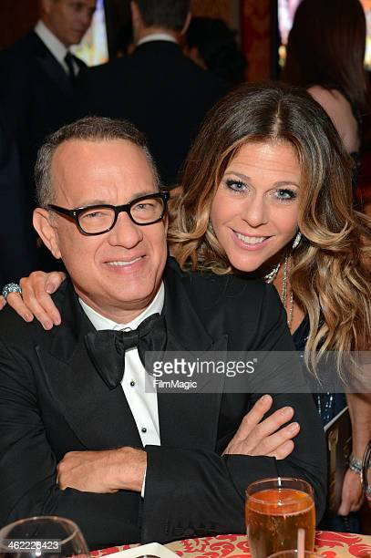Actor Tom Hanks and actress Rita Wilson attend HBO's Official Golden Globe Awards After Party at The Beverly Hilton Hotel on January 12 2014 in...