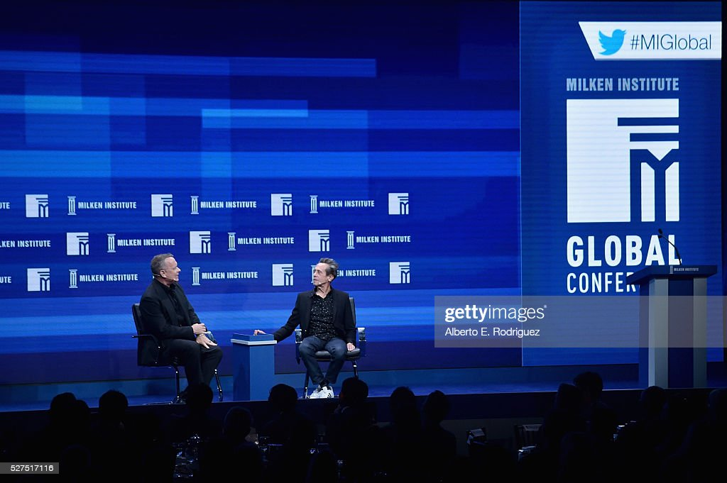 Actor Tom Hanks (L) and director/producer Brian Grazer speak onstage during 2016 Milken Institute Global Conference at The Beverly Hilton on May 02, 2016 in Beverly Hills, California.