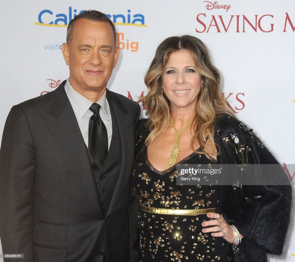 Actor <a gi-track='captionPersonalityLinkClicked' href=/galleries/search?phrase=Tom+Hanks&family=editorial&specificpeople=201790 ng-click='$event.stopPropagation()'>Tom Hanks</a> (L) and his wife actress <a gi-track='captionPersonalityLinkClicked' href=/galleries/search?phrase=Rita+Wilson&family=editorial&specificpeople=202642 ng-click='$event.stopPropagation()'>Rita Wilson</a> attend the premiere of 'Saving Mr. Banks' on December 9, 2013 at Walt Disney Studios in Burbank, California.