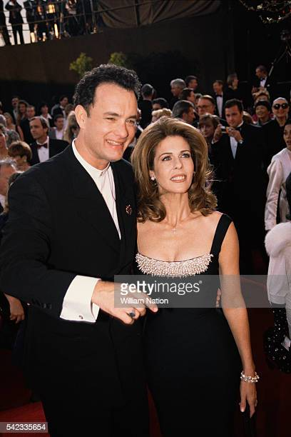 Actor Tom Hanks and his wife actress Rita Wilson attends the 67th Academy Awards where Tom Hanks won the Oscar for Best Actor in a Leading Role for...