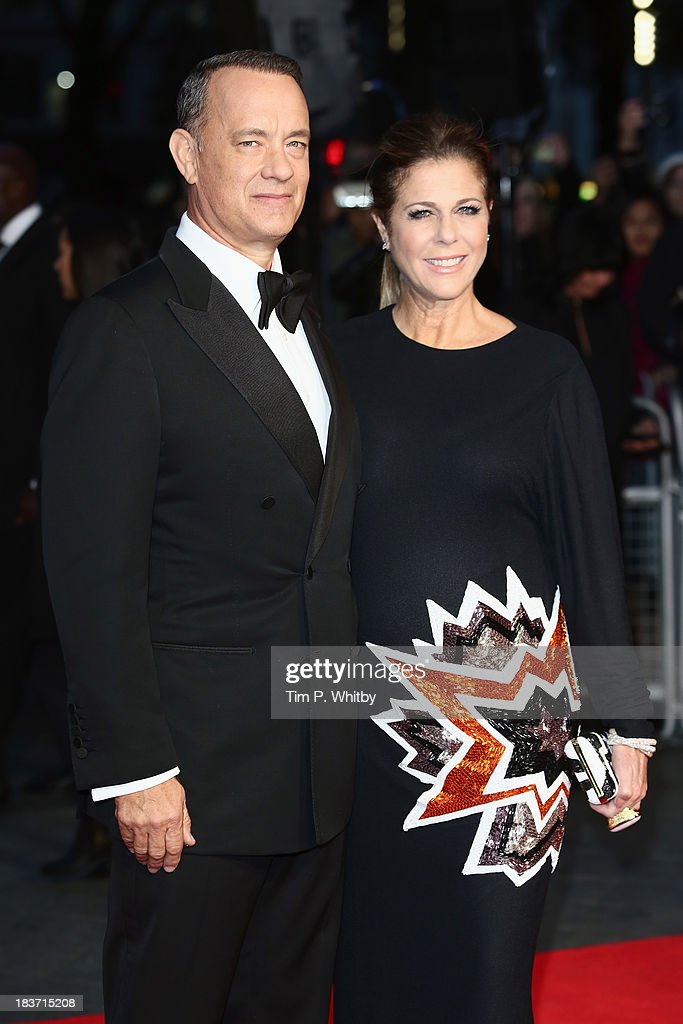 Actor <a gi-track='captionPersonalityLinkClicked' href=/galleries/search?phrase=Tom+Hanks&family=editorial&specificpeople=201790 ng-click='$event.stopPropagation()'>Tom Hanks</a> and his wife <a gi-track='captionPersonalityLinkClicked' href=/galleries/search?phrase=Rita+Wilson&family=editorial&specificpeople=202642 ng-click='$event.stopPropagation()'>Rita Wilson</a> attend the European premiere of 'Captain Phillips' on the opening night of the 57th BFI London Film Festival at Odeon Leicester Square on October 9, 2013 in London, England.