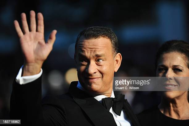 Actor Tom Hanks and his wife Rita Wilson attend the European premiere of 'Captain Phillips' on the opening night of the 57th BFI London Film Festival...