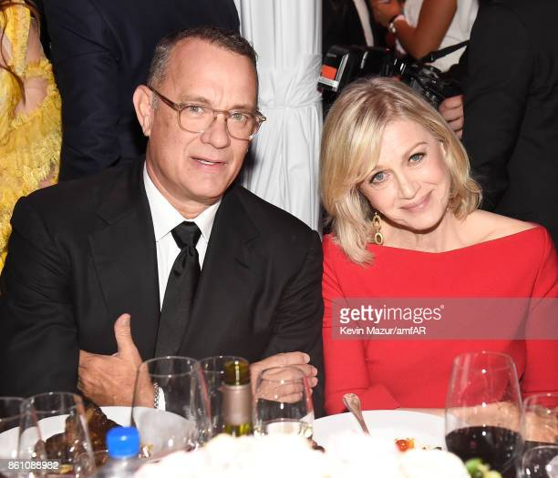 Actor Tom Hanks and journalist Diane Sawyer and attend the amfAR Gala Los Angeles 2017 at Ron Burkle's Green Acres Estate on October 13 2017 in...