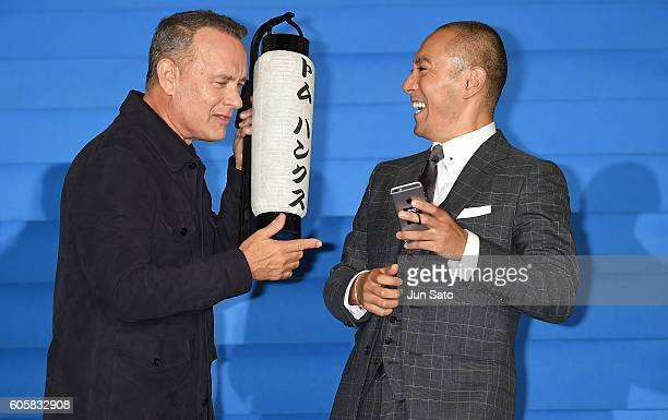 Actor Tom Hanks and Kabuki actor Ebizo Ichikawa attend the 'Sully' Tokyo Premiere at Yurakucho Mullion on September 15 2016 in Tokyo Japan