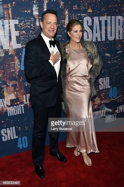 Actor Tom Hanks and Rita Wilson attend SNL 40th Anniversary Celebration at Rockefeller Plaza on February 15 2015 in New York City