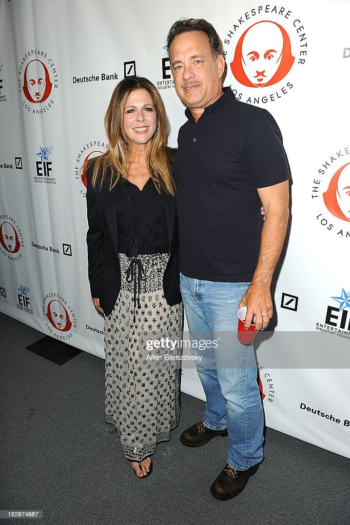 Actor Tom Hanks (R) and wife actress Rita Wilson attend the Shakespeare Center of Los Angeles' 22nd annual 'Simply Shakespeare' reading of 'A Midsummer Night's Dream' at Freud Playhouse, UCLA on September 27, 2012 in Westwood, California.