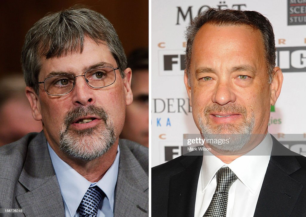 In this composite image a comparison has been made between Captain Richard Phillips (L) and Tom Hanks. Actor Tom Hanks will play Captain Richard Phillips in a film biopic 'Captain Phillips' directed by Paul Greengrass. PHOENIX, AZ - MARCH 24: Actor Tom Hanks arrives at Muhammad Ali's Celebrity Fight Night XIII held at JW Marriott Desert Ridge Resort & Spa on March 24, 2012 in Phoenix, Arizona.