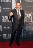 Actor Tom Hanks arrives at the screening of 'Captain Phillips' at The Newseum on October 2 2013 in Washington DC