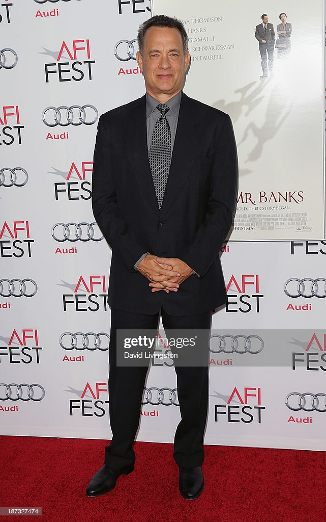 Actor <a gi-track='captionPersonalityLinkClicked' href=/galleries/search?phrase=Tom+Hanks&family=editorial&specificpeople=201790 ng-click='$event.stopPropagation()'>Tom Hanks</a> attends the AFI FEST 2013 presented by Audi premiere of Walt Disney Pictures' 'Saving Mr. Banks' at TCL Chinese Theatre on November 7, 2013 in Hollywood, California.