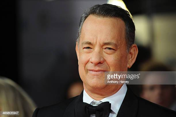 Actor Tom Hanks attends the EE British Academy Film Awards 2014 at The Royal Opera House on February 16 2014 in London England