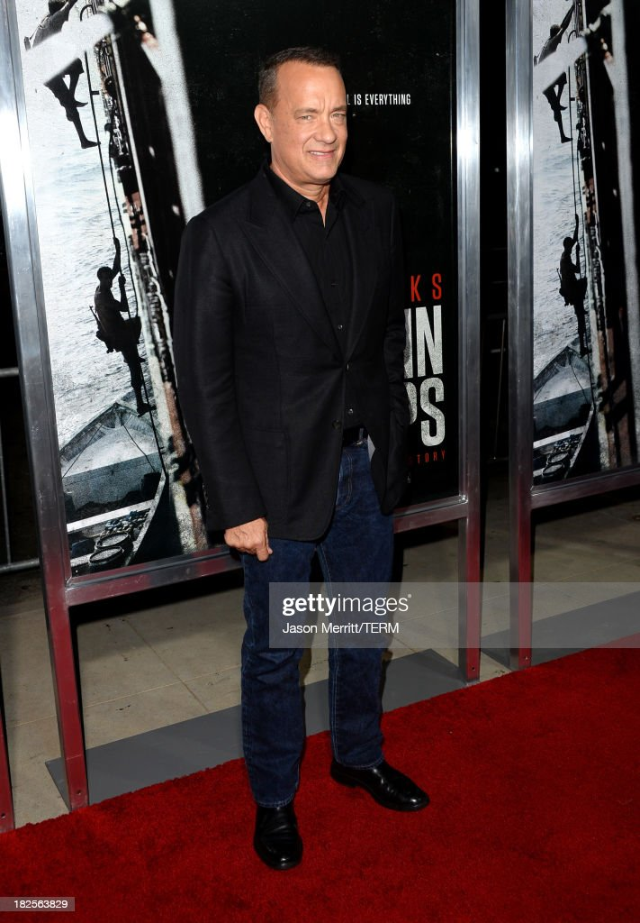 Actor <a gi-track='captionPersonalityLinkClicked' href=/galleries/search?phrase=Tom+Hanks&family=editorial&specificpeople=201790 ng-click='$event.stopPropagation()'>Tom Hanks</a> attends the premiere of Columbia Pictures' 'Captain Phillips' at the Academy of Motion Picture Arts and Sciences on September 30, 2013 in Beverly Hills, California.