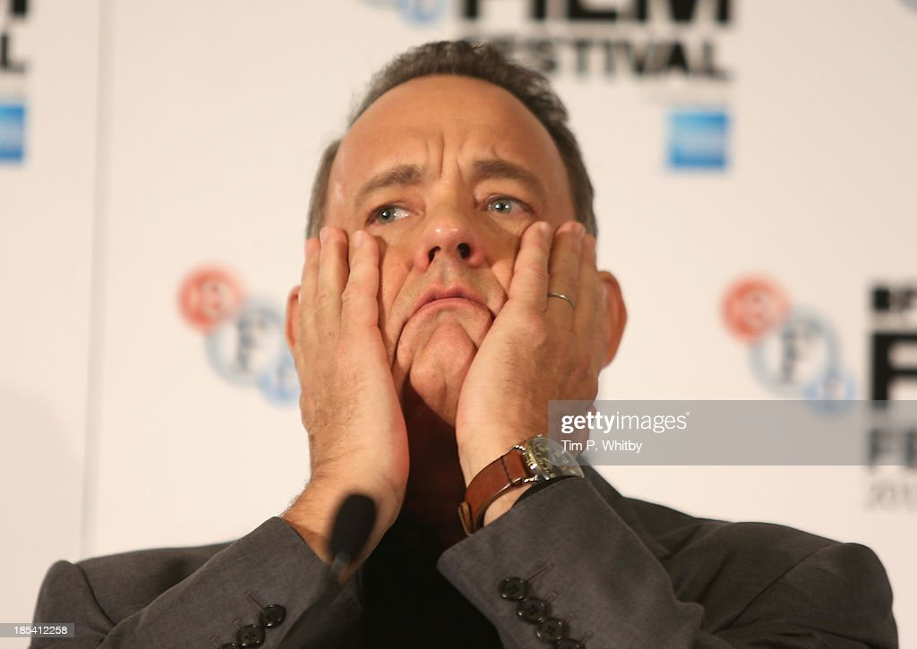 Actor <a gi-track='captionPersonalityLinkClicked' href=/galleries/search?phrase=Tom+Hanks&family=editorial&specificpeople=201790 ng-click='$event.stopPropagation()'>Tom Hanks</a> attends the press conference for 'Saving Mr Banks' during the 57th BFI London Film Festival at The Dorchester on October 20, 2013 in London, England.