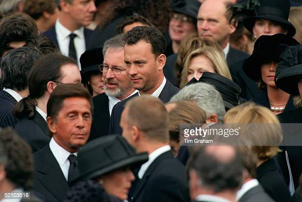 Actor Tom Hanks Film Director Steven Spielberg And Dress Designer Valentino Attending The Funeral At Westminster Abbey Of Diana Princess Of Wales