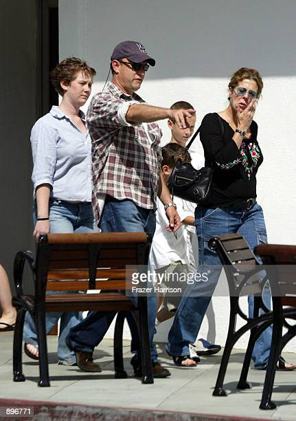 Actor Tom Hanks his daughter Elizabeth sons Truman and Chester and wife Rita Wilson walk down Broadway June 22 2002 in Santa Monica California