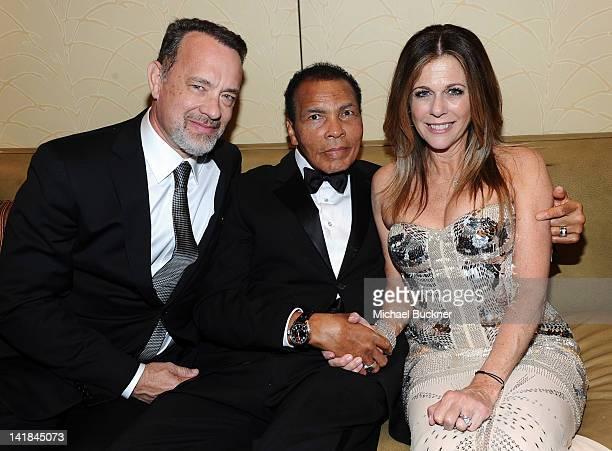 Actor Tom Hanks Muhammad Ali and actress Rita Wilson pose backstage during Muhammad Ali's Celebrity Fight Night XVIII held at JW Marriott Desert...