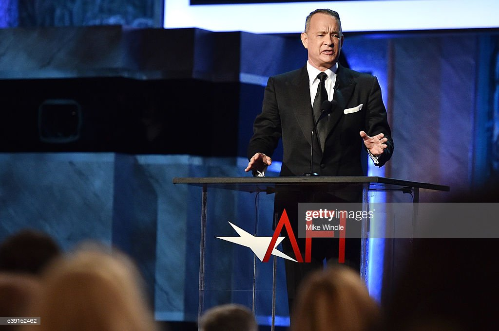 Actor Tom Hanks onstage during American Film Institute's 44th Life Achievement Award Gala Tribute show to John Williams at Dolby Theatre on June 9, 2016 in Hollywood, California. 26148_002