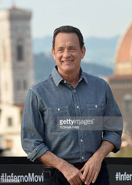 US actor Tom Hanks poses during the photocall of the film ''Inferno'' in Florence on May 11 2015 AFP PHOTO / TIZIANA FABI