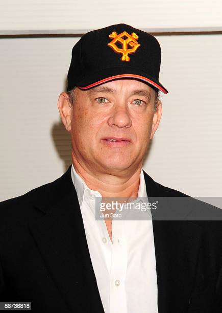 Actor Tom Hanks poses for a photograph at the reception room during professional baseball match between Yomiuri Giants and Chunichi Dragons at Tokyo...