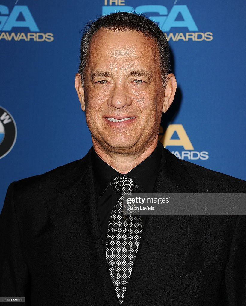 Actor <a gi-track='captionPersonalityLinkClicked' href=/galleries/search?phrase=Tom+Hanks&family=editorial&specificpeople=201790 ng-click='$event.stopPropagation()'>Tom Hanks</a> poses in the press room at the 66th annual Directors Guild of America Awards at the Hyatt Regency Century Plaza on January 25, 2014 in Century City, California.