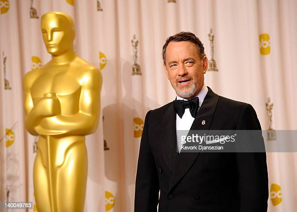 Actor Tom Hanks poses in the press room at the 84th Annual Academy Awards held at the Hollywood Highland Center on February 26 2012 in Hollywood...