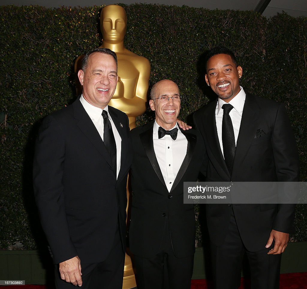 Actor Tom Hanks, producer Jeffrey Katzenberg and actor Will Smith attend the Academy Of Motion Picture Arts And Sciences' 4th Annual Governors Awards at Hollywood and Highland on December 1, 2012 in Hollywood, California.