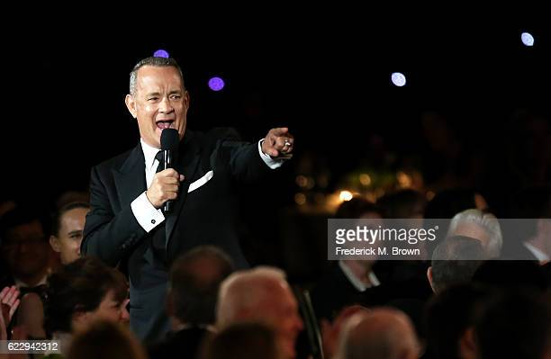 Actor Tom Hanks speaks during the Academy of Motion Picture Arts and Sciences' 8th annual Governors Awards at The Ray Dolby Ballroom at Hollywood...