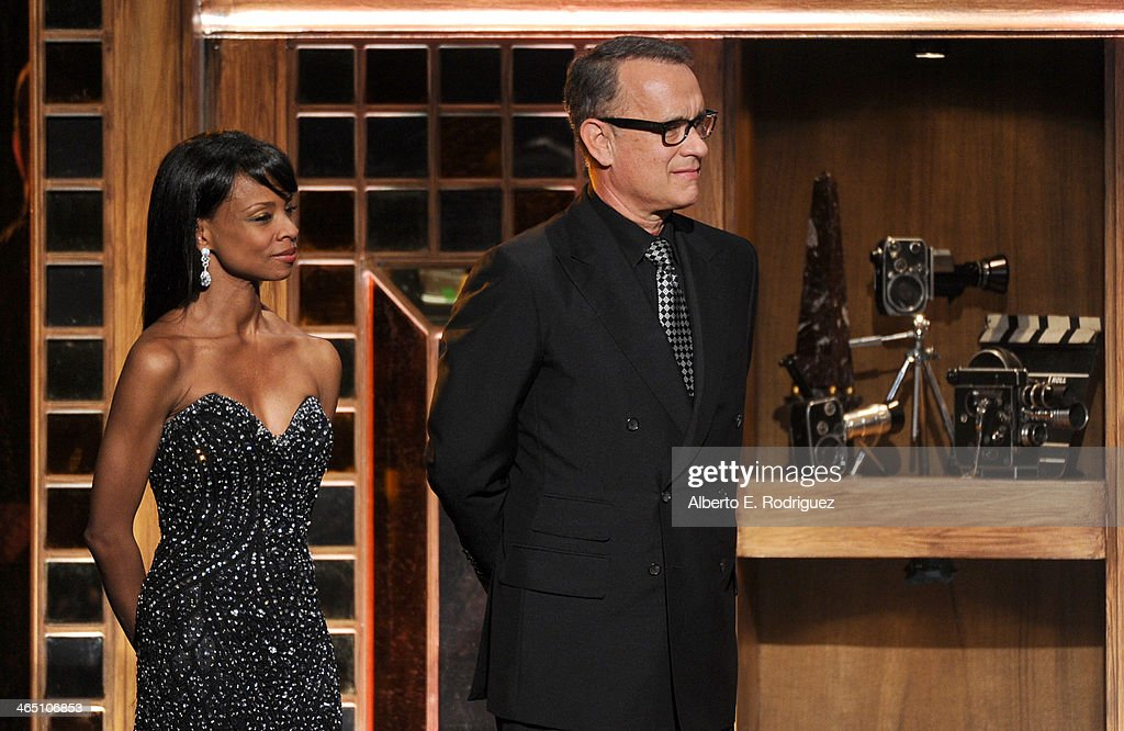 Actor Tom Hanks speaks onstage at the 66th Annual Directors Guild Of America Awards held at the Hyatt Regency Century Plaza on January 25 2014 in...