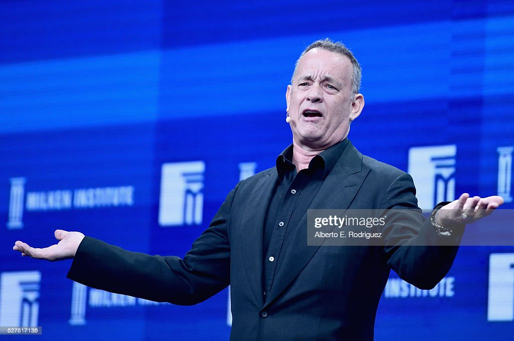 Actor <a gi-track='captionPersonalityLinkClicked' href=/galleries/search?phrase=Tom+Hanks&family=editorial&specificpeople=201790 ng-click='$event.stopPropagation()'>Tom Hanks</a> speaks onstage during 2016 Milken Institute Global Conference at The Beverly Hilton on May 02, 2016 in Beverly Hills, California.