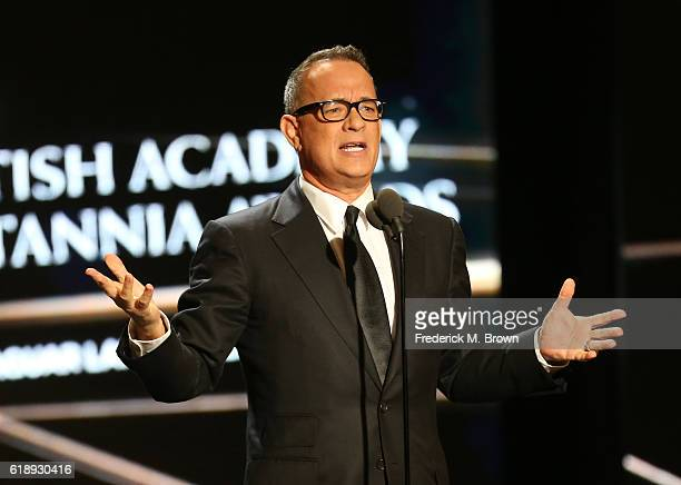 Actor Tom Hanks speaks onstage during the 2016 AMD British Academy Britannia Awards presented by Jaguar Land Rover and American Airlines at The...