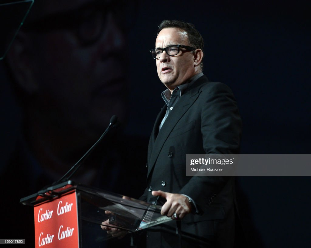 Actor <a gi-track='captionPersonalityLinkClicked' href=/galleries/search?phrase=Tom+Hanks&family=editorial&specificpeople=201790 ng-click='$event.stopPropagation()'>Tom Hanks</a> speaks onstage during the 24th annual Palm Springs International Film Festival Awards Gala at the Palm Springs Convention Center on January 5, 2013 in Palm Springs, California.
