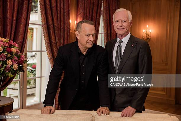 Actor Tom Hanks with retired commercial pilot Chesley Sullenberger are photographed for Paris Match on November 18 2016 in Paris France