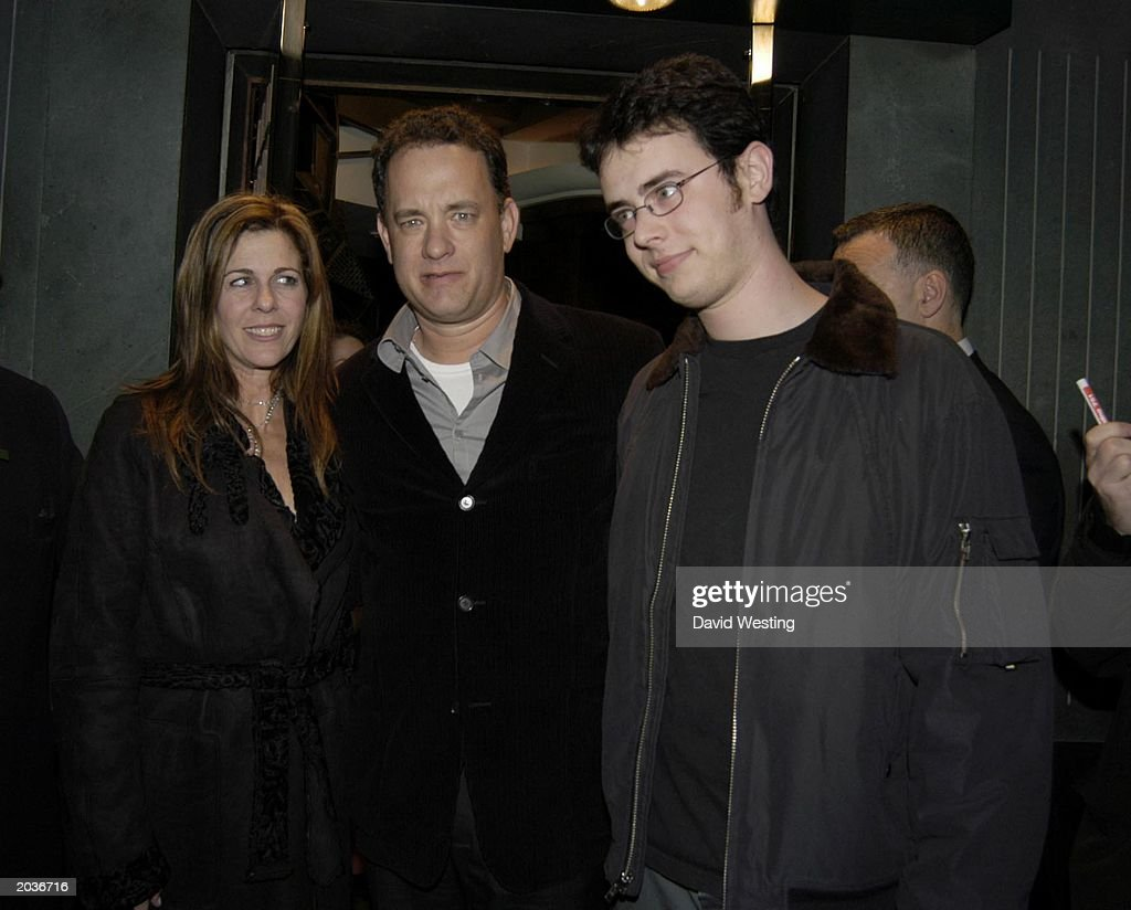 Actor <a gi-track='captionPersonalityLinkClicked' href=/galleries/search?phrase=Tom+Hanks&family=editorial&specificpeople=201790 ng-click='$event.stopPropagation()'>Tom Hanks</a> with wife Rita Wilson and son Colin at the launch party of Trigger Street.Com in London on November 25, 2003. Trigger Street is Kevin Spaceys production company.