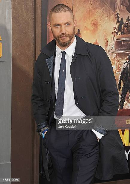 Actor Tom Hardy arrives at the Los Angeles Premiere 'Mad Max Fury Road' at TCL Chinese Theatre IMAX on May 7 2015 in Hollywood California