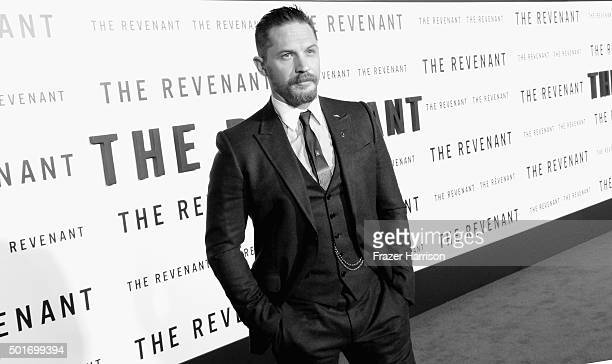 Actor Tom Hardy arrives at the Premiere Of 20th Century Fox And Regency Enterprises' 'The Revenant' at TCL Chinese Theatre on December 16 2015 in...