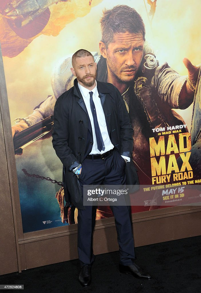 Actor Tom Hardy arrives for the premiere of Warner Bros. Pictures' 'Mad Max: Fury Road' held at TCL Chinese Theatre on May 7, 2015 in Hollywood, California.