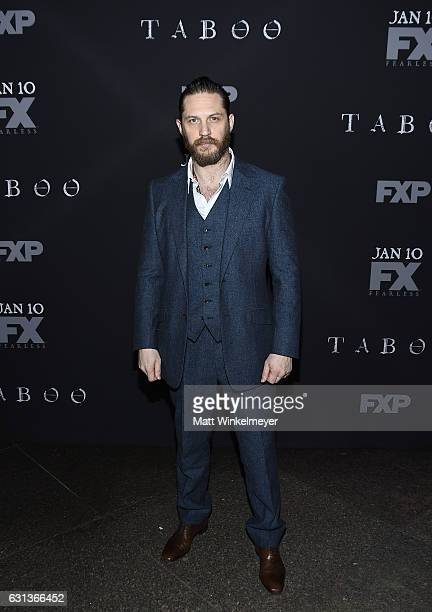 Actor Tom Hardy attends the premiere of FX's 'Taboo' at DGA Theater on January 9 2017 in Los Angeles California