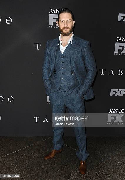 Actor Tom Hardy attends the premiere of 'Taboo' at DGA Theater on January 9 2017 in Los Angeles California