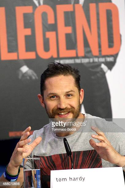 Actor Tom Hardy speaks onstage during the 'Legend' press conference at the 2015 Toronto International Film Festival at TIFF Bell Lightbox on...