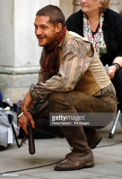 Actor Tom Hardy who was filming his role as Bill Sykes in a BBC production of Oliver Twist scheduled for later this year outside the High Court in...