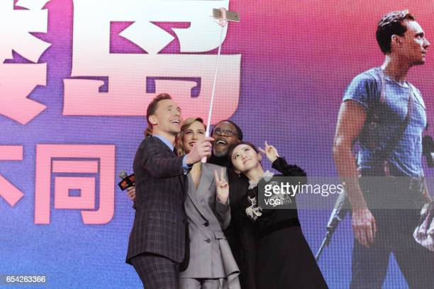 Actor Tom Hiddleston actress Brie Larson actor Samuel L Jackson and actress Jing Tian attend the press conference of film 'Kong Skull Island ' at...